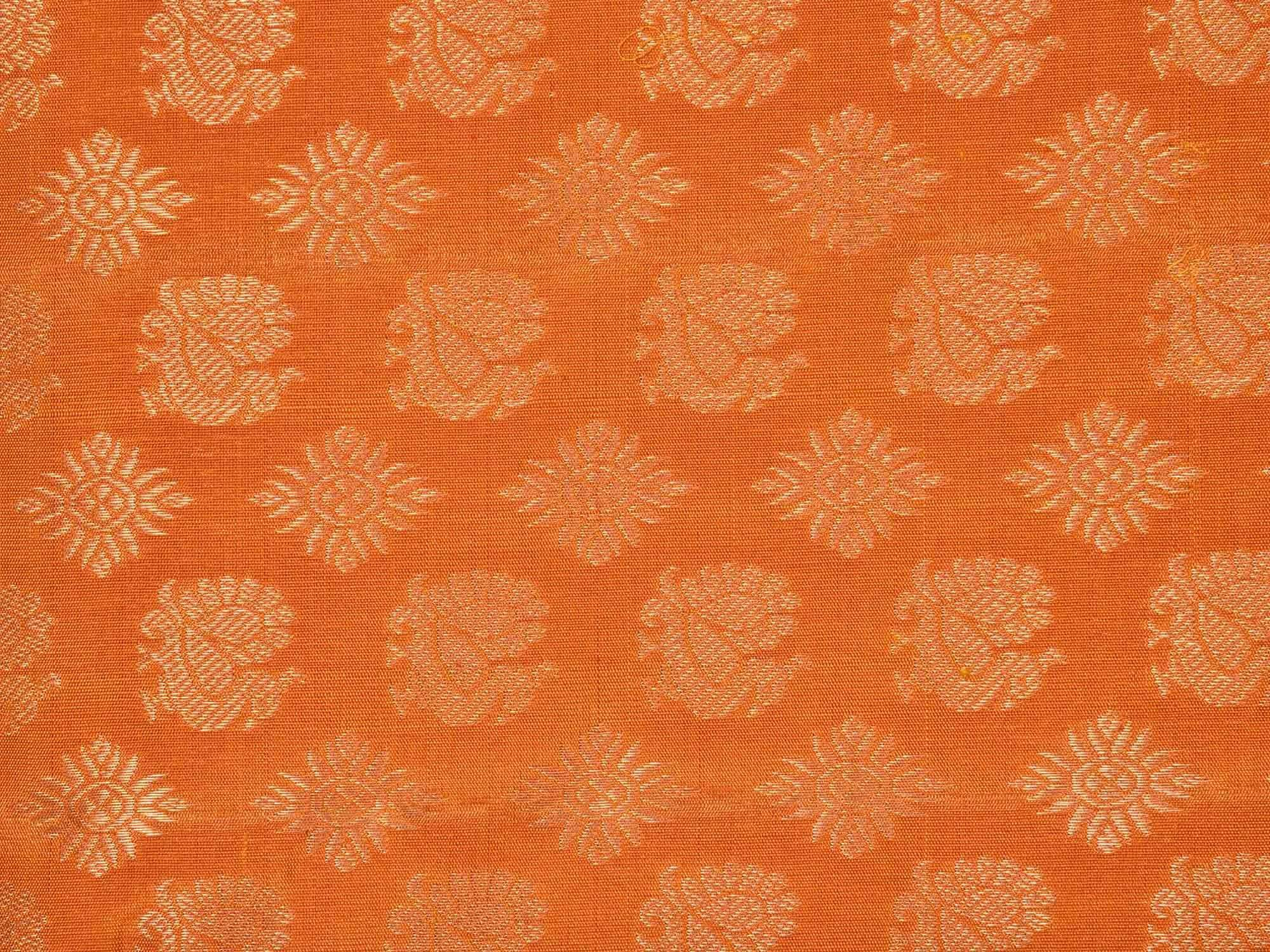 Orange Kanchipuram Silk Handloom Saree with All Over and Border Design K0410