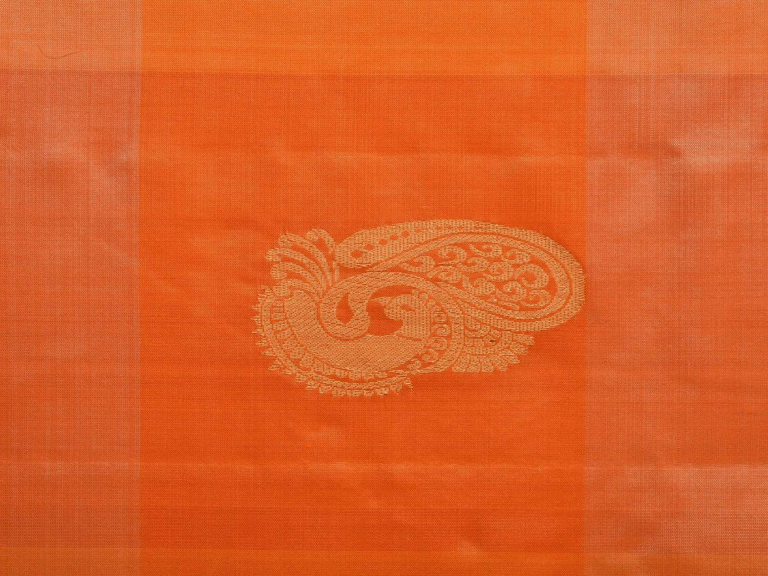 Orange Kanchipuram Silk Handloom Saree with Checks and Peacock Buta Design k0467