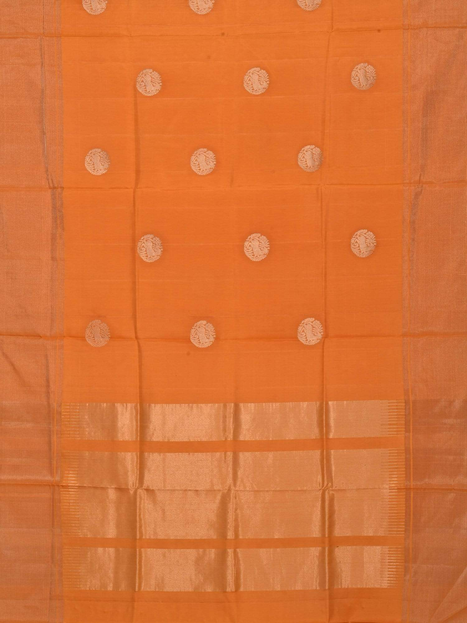 Orange Kanchipuram Silk Handloom Saree with Shikari Buta Design K0354