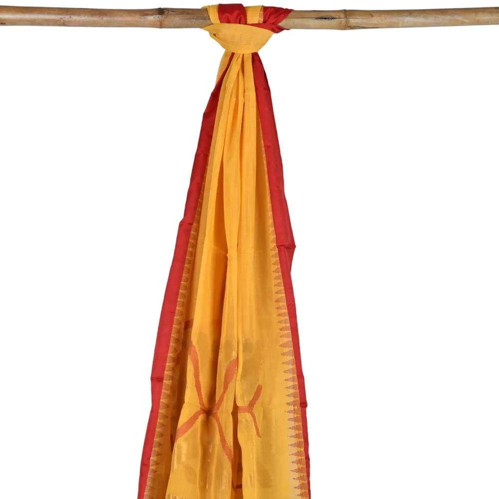 Orange Khadi Cotton Handloom Dupatta with Zari Design ds1765