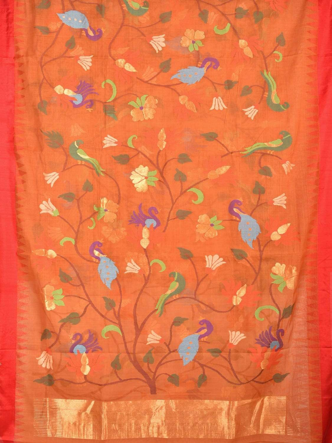 Orange Khadi Cotton Handloom Saree with All Over Parrot and Peacock Design kh0465
