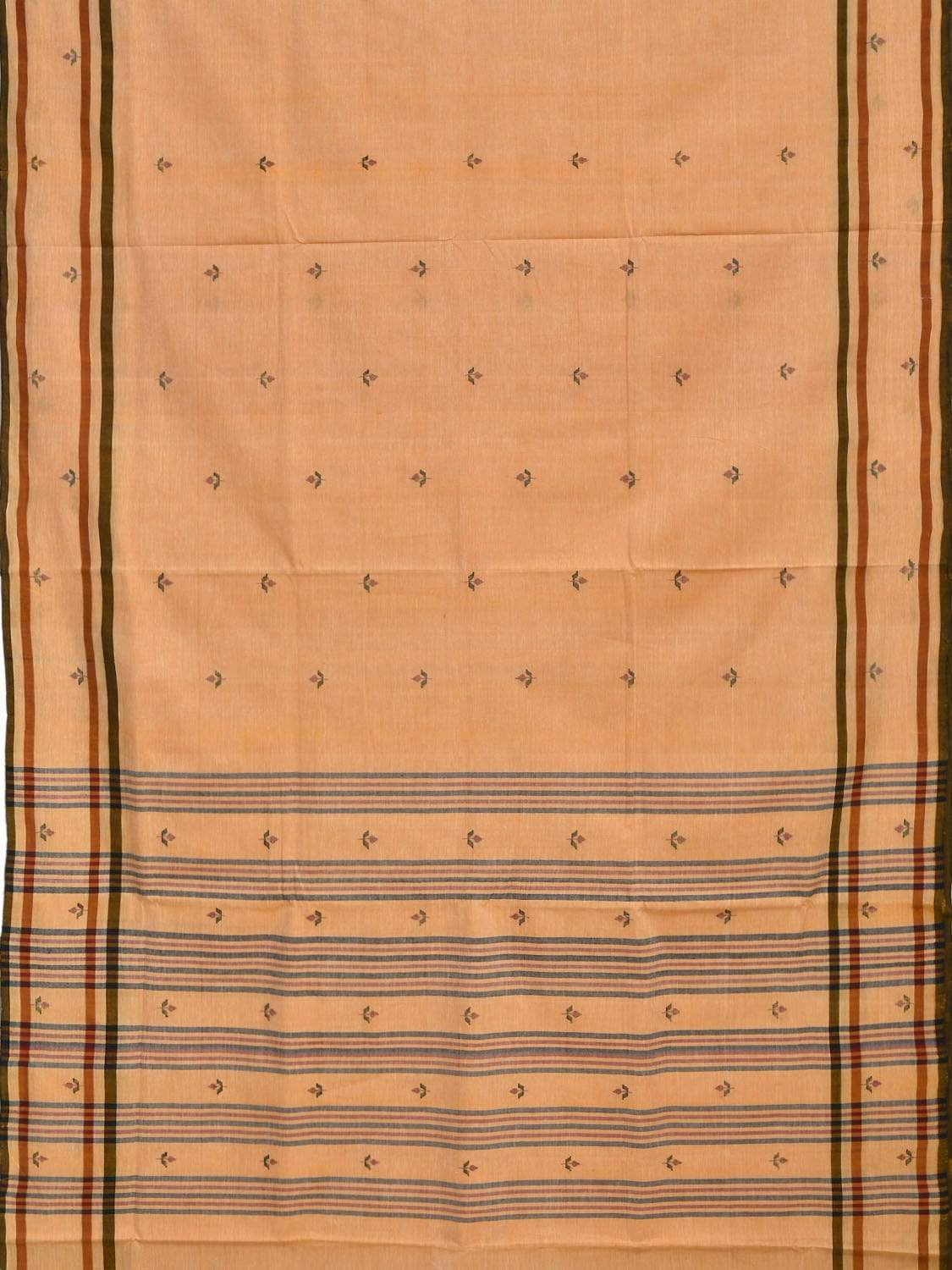 Orange Khadi Cotton Handloom Saree with Jamdani Buta Design kh0450