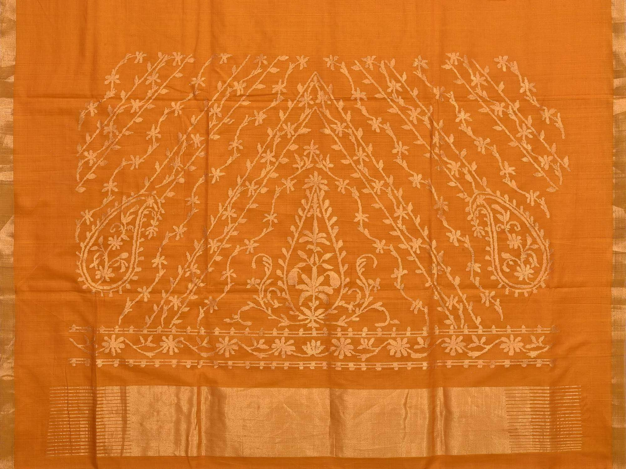 Orange Khadi Cotton Handloom Saree with Pallu Design kh0373