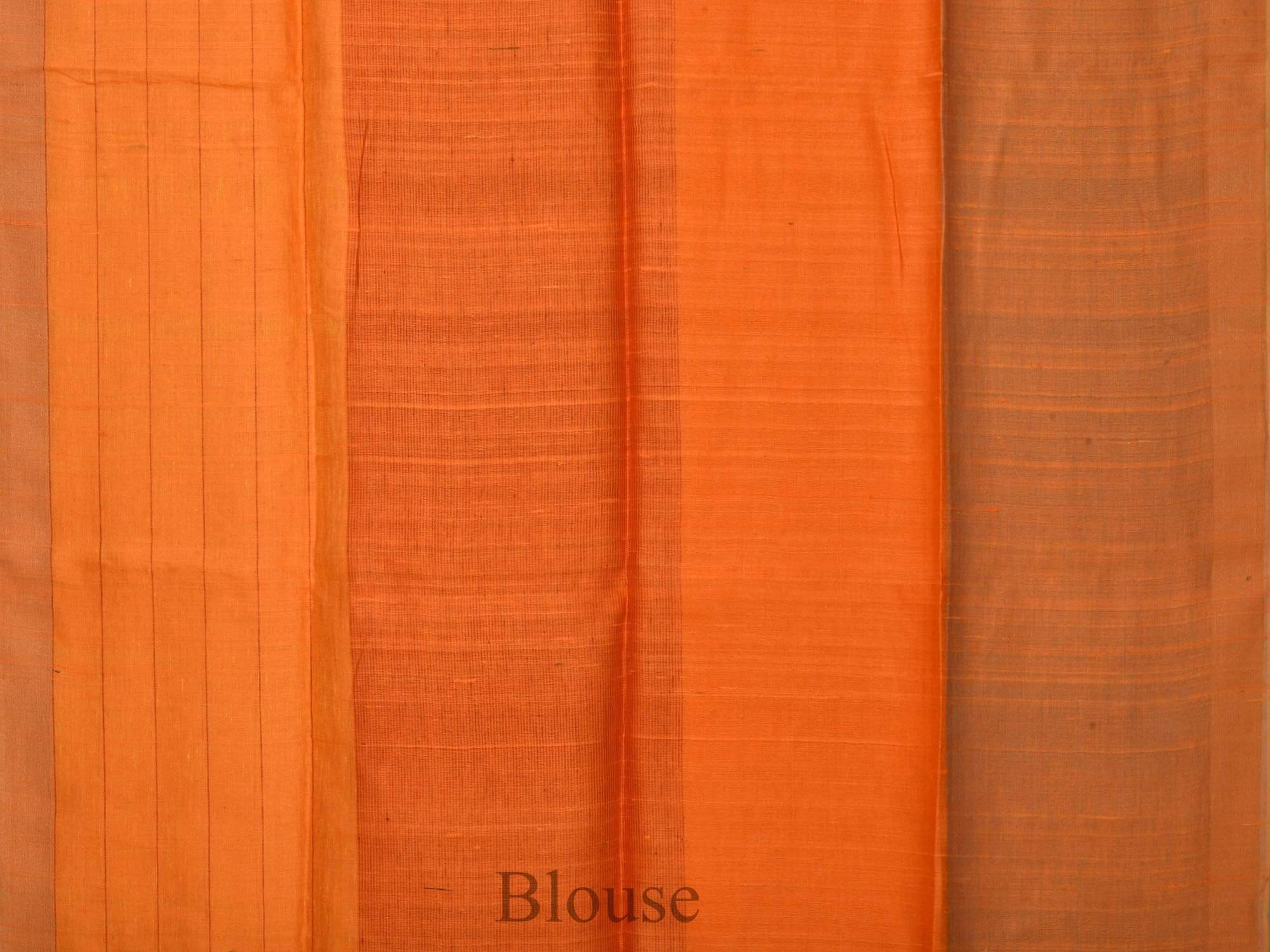 Orange Linen Handloom Saree with Quad Color Design o0146