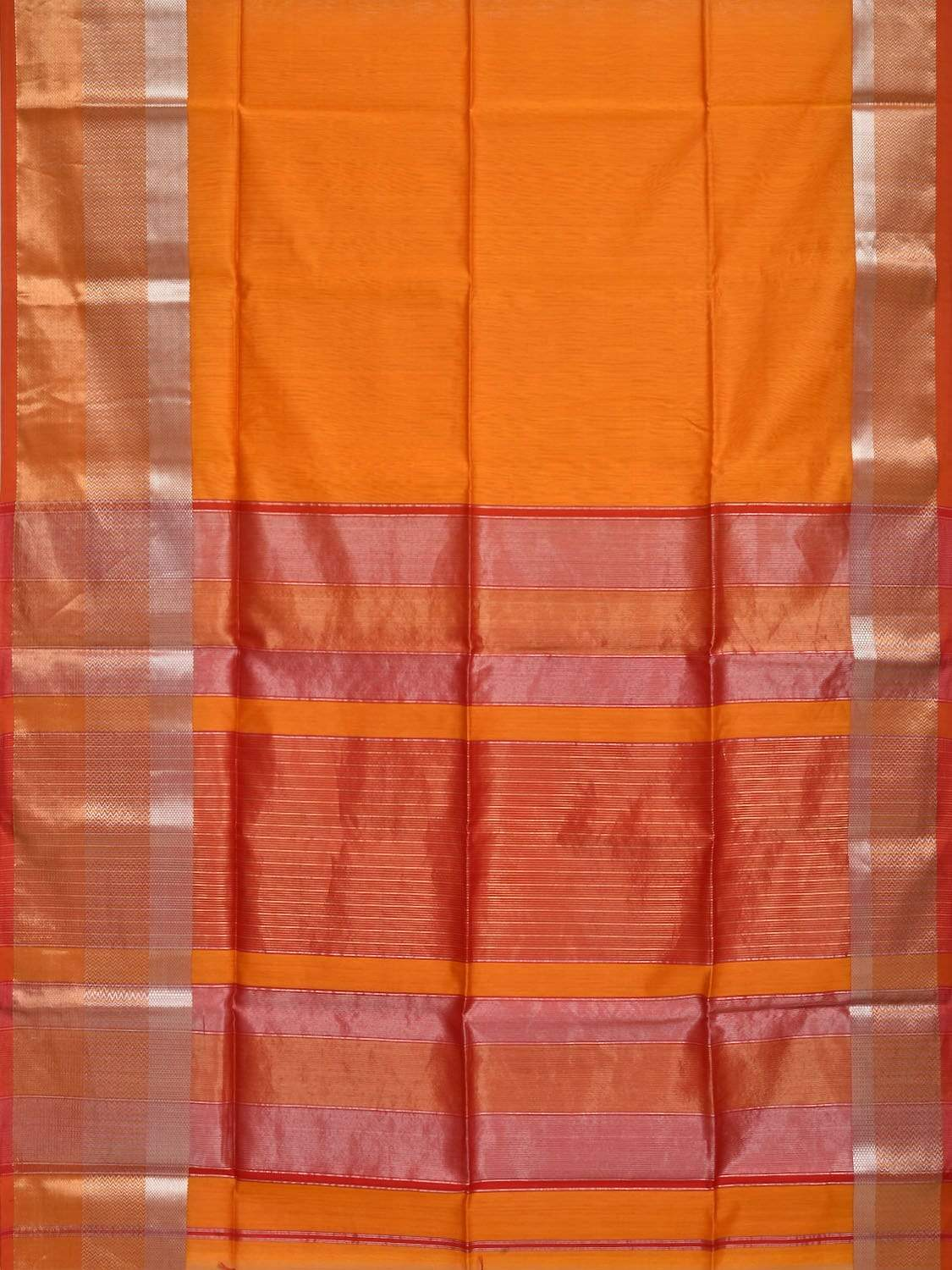 Orange Maheshwari Cotton Silk Handloom Plain Saree with One Side Big Border Design m0114