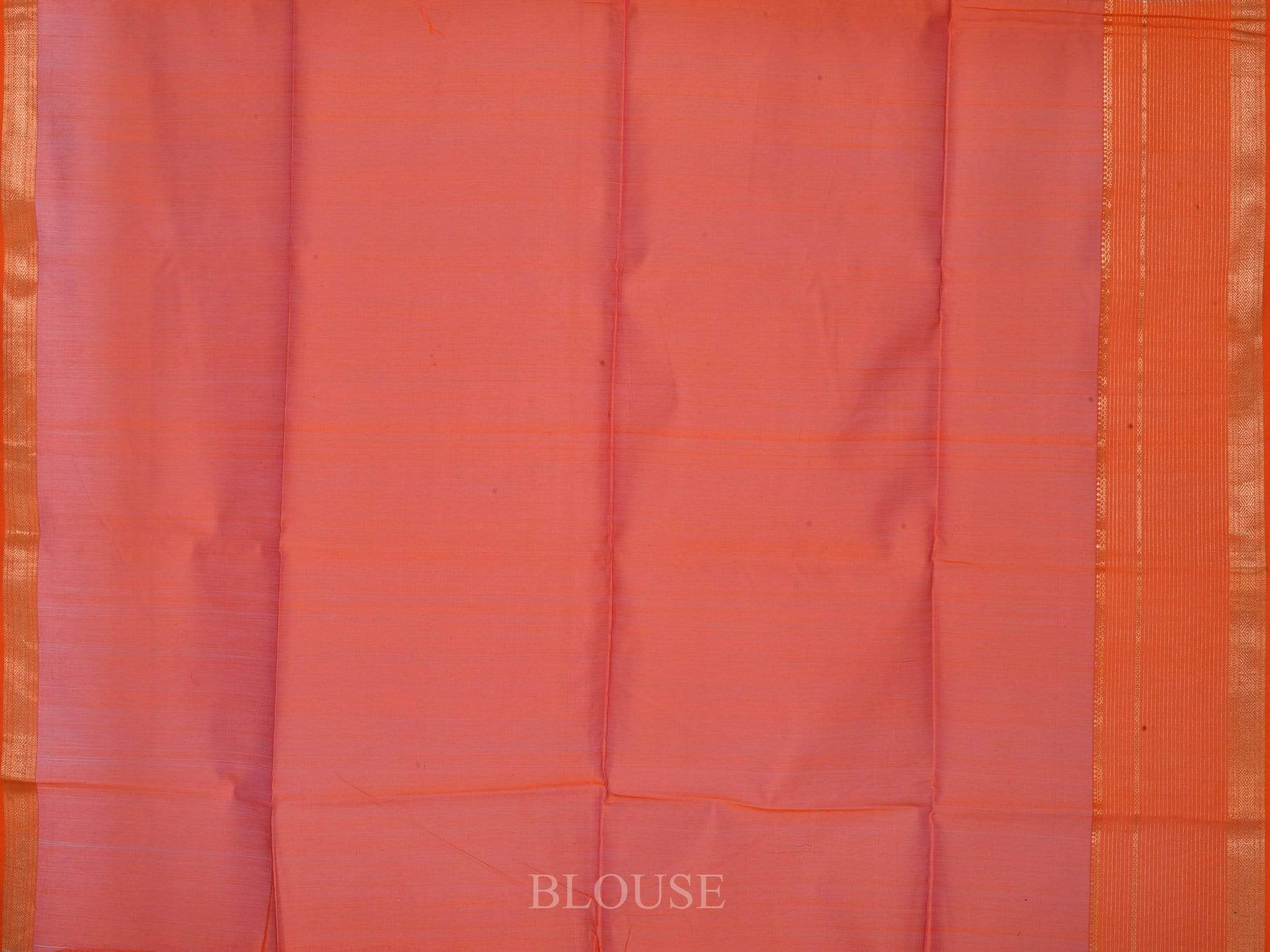 Orange Maheshwari Cotton Silk Saree with Strips Border Design M0035