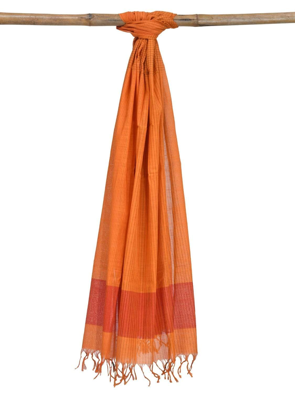 Orange Mangalgiri Cotton Handloom Dupatta with Strips Design ds1852