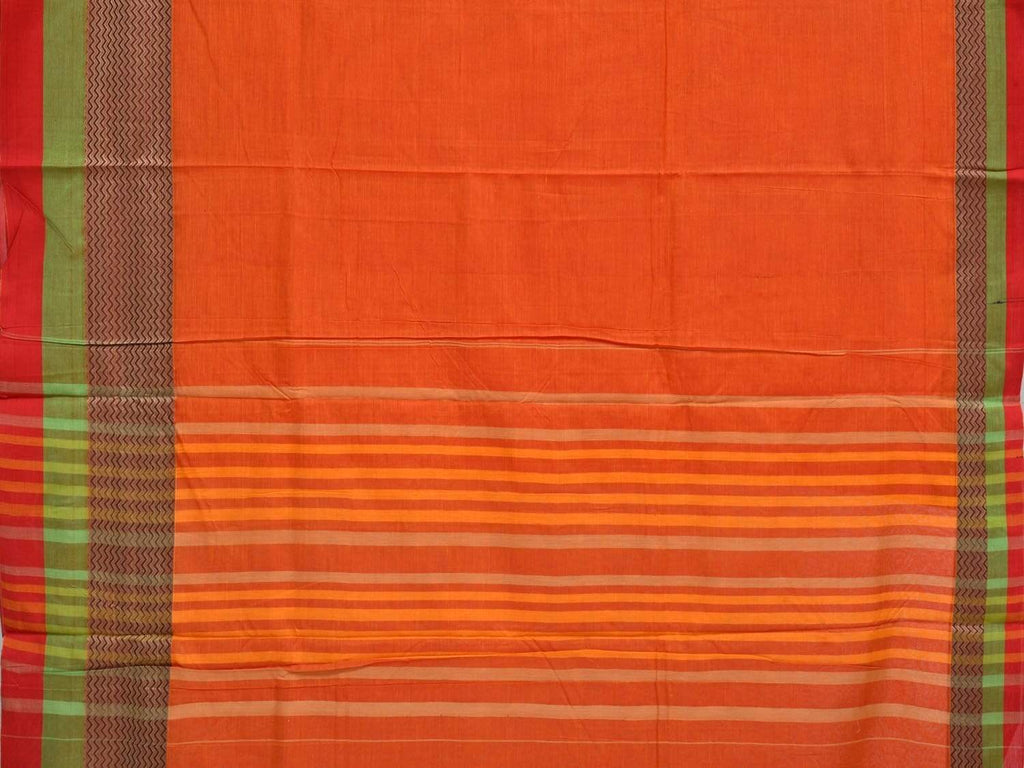 Orange Narayanpet Cotton Handloom Plain Saree with Big Border Design No Blouse np0250