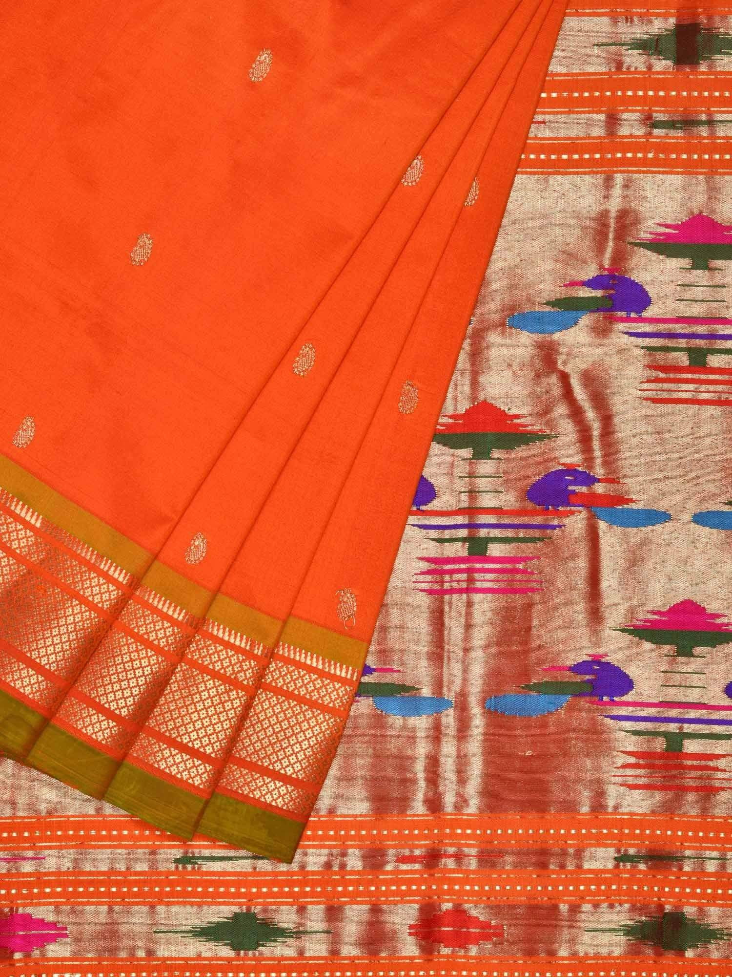 Orange Paithani Silk Handloom Saree with Double Pallu Design p0310