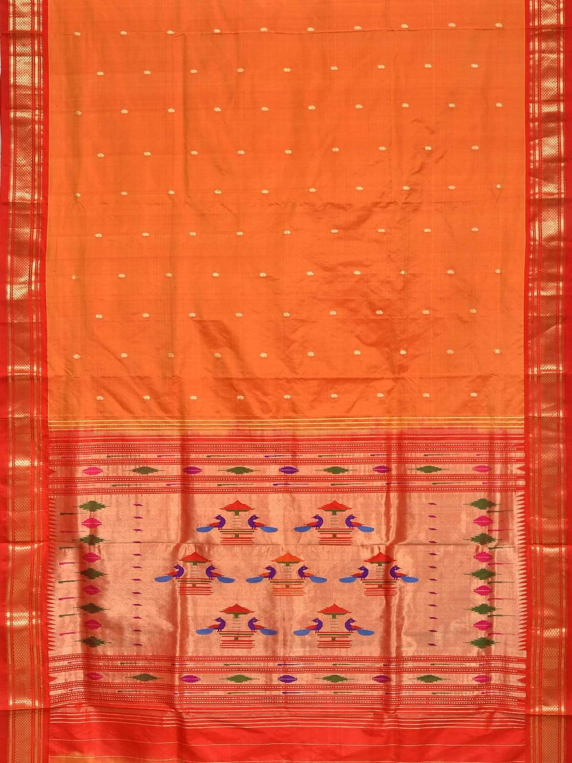 Orange Paithani Silk Handloom Saree with Double Pallu Design p0332