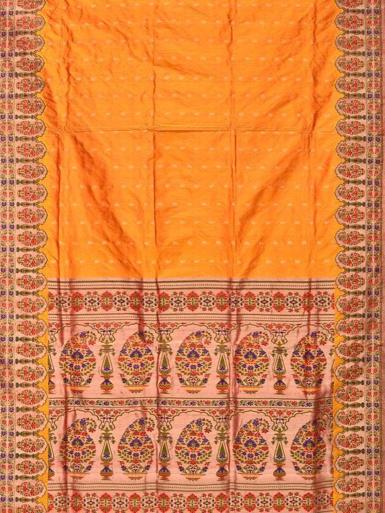 Orange Paithani Silk Handloom Saree with Mango Border Design p0336