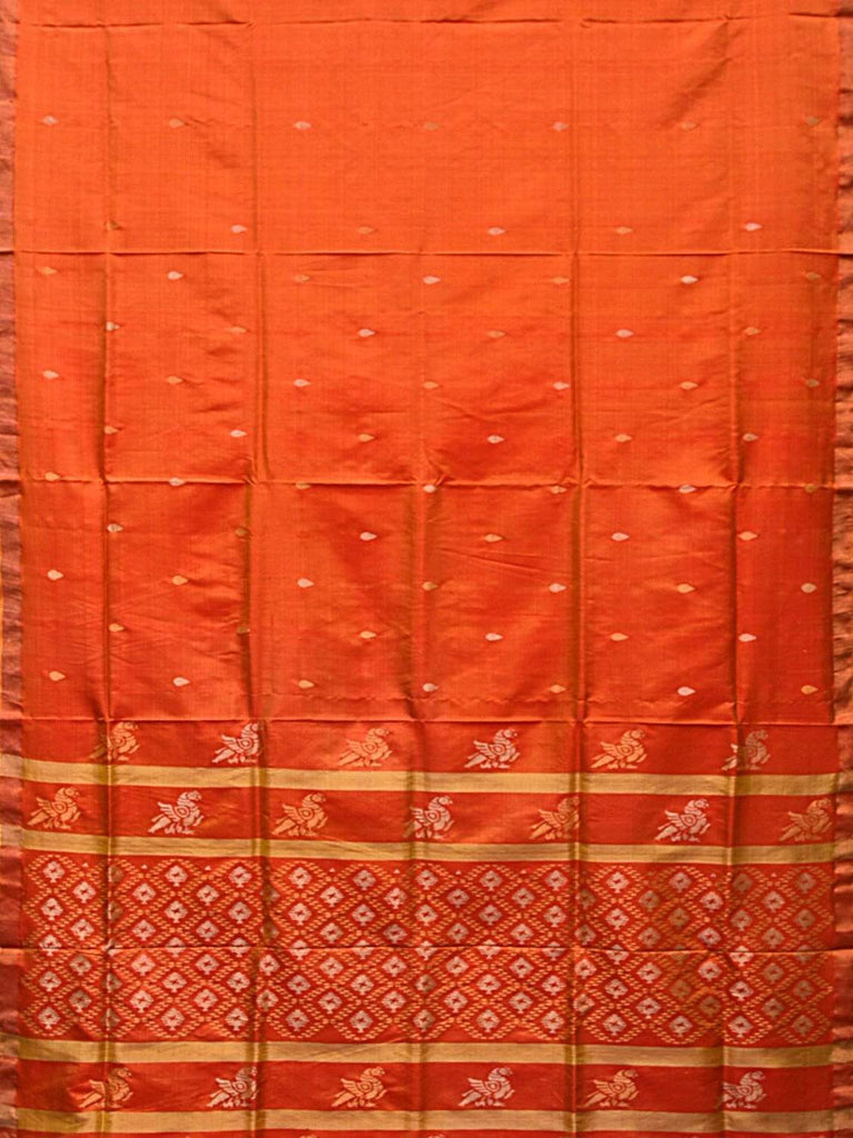Orange Uppada Silk Handloom Saree with Jamdani Pallu Design u1740
