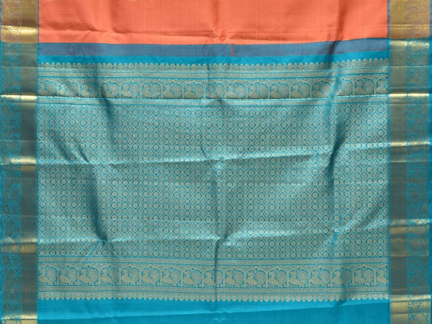 Peach and Blue Kanchipuram Silk Handloom Saree with Body Buta and Border Design k0494