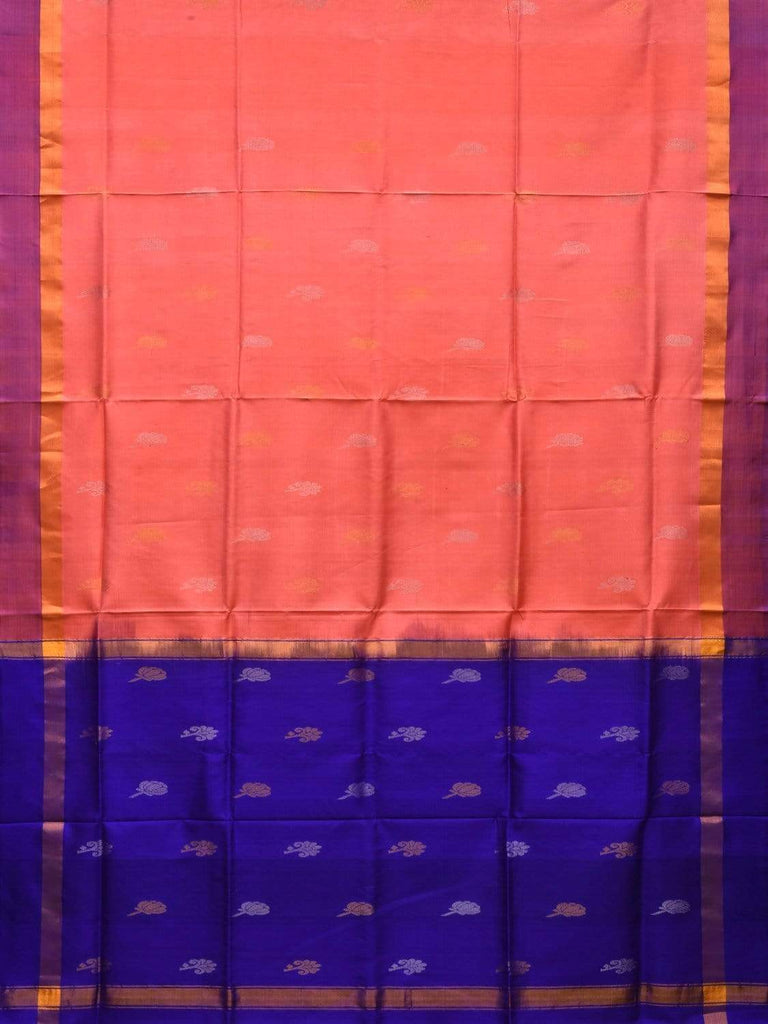 Peach and Blue Uppada Silk Handloom Saree with Buta and Contrast Pallu Design u1744