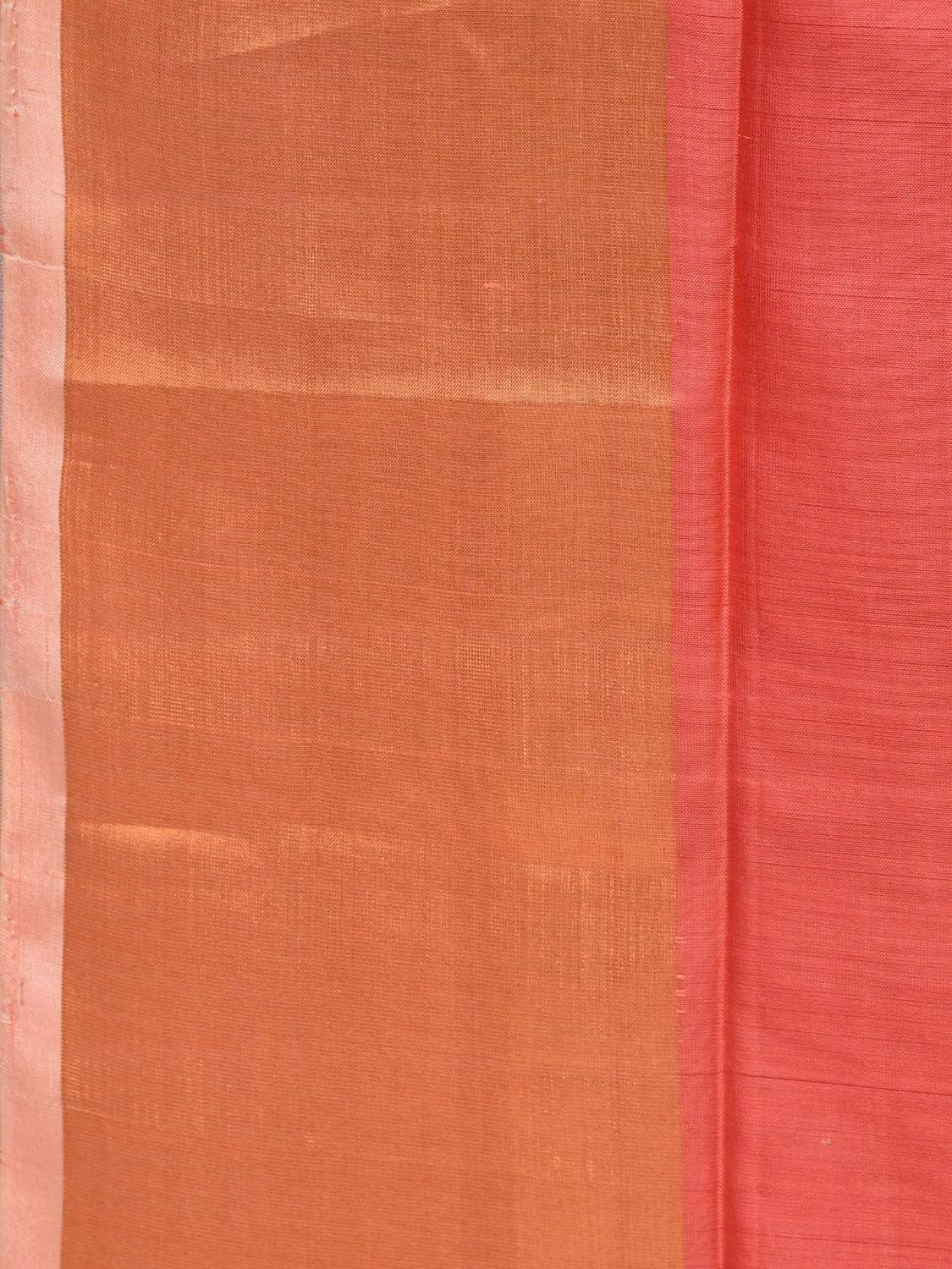 Peach and Cream Uppada Silk Handloom Plain Saree with Contrast Pallu u1602