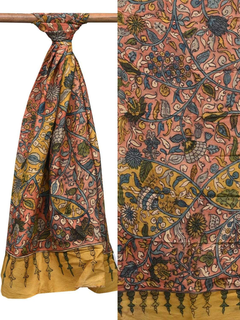 Peach and Yellow Kalamkari Hand Painted Silk Dupatta with Flowers and Leaves Design ds2093
