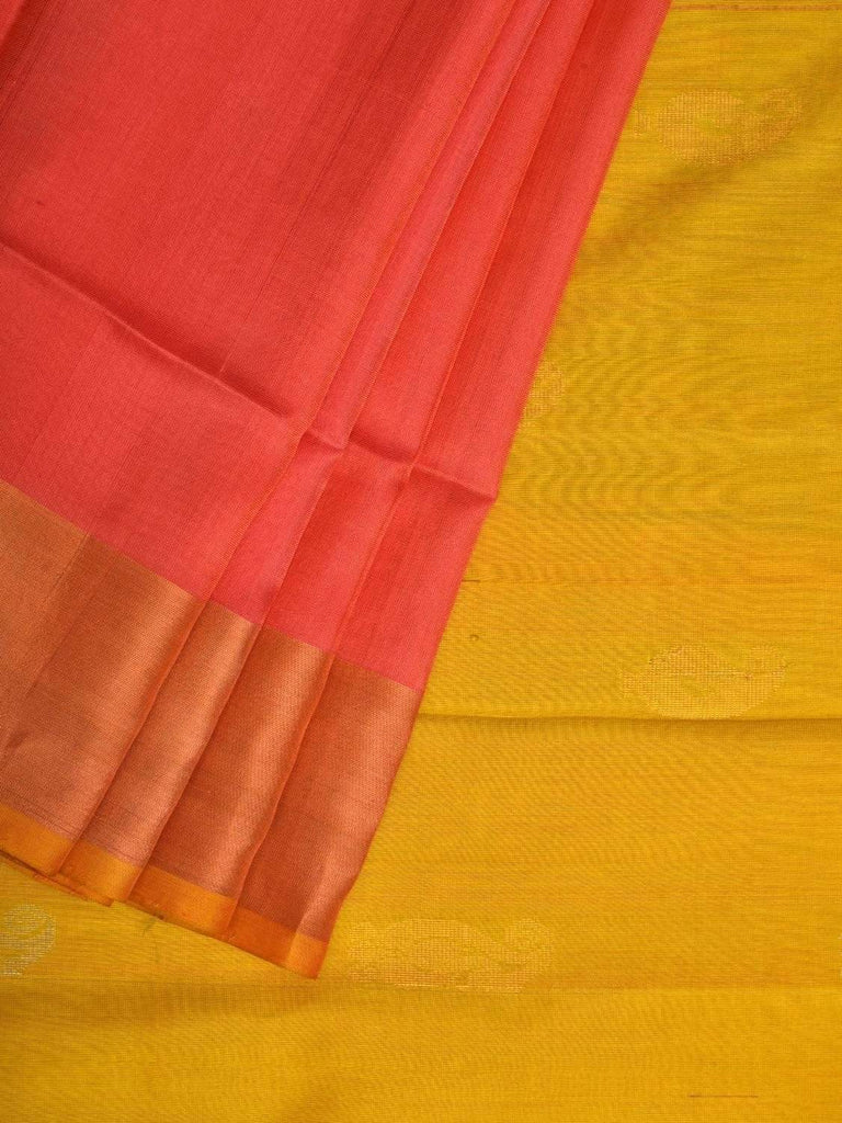 Peach and Yellow Uppada Silk Handloom Saree with Buta and Contrast Pallu Design u1747