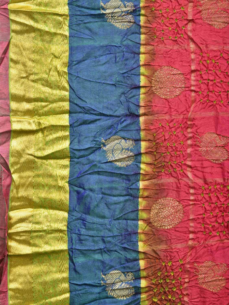 Peach Bandhani Kanchipuram Silk Handloom Saree with Checks and Body Buta Design bn0063