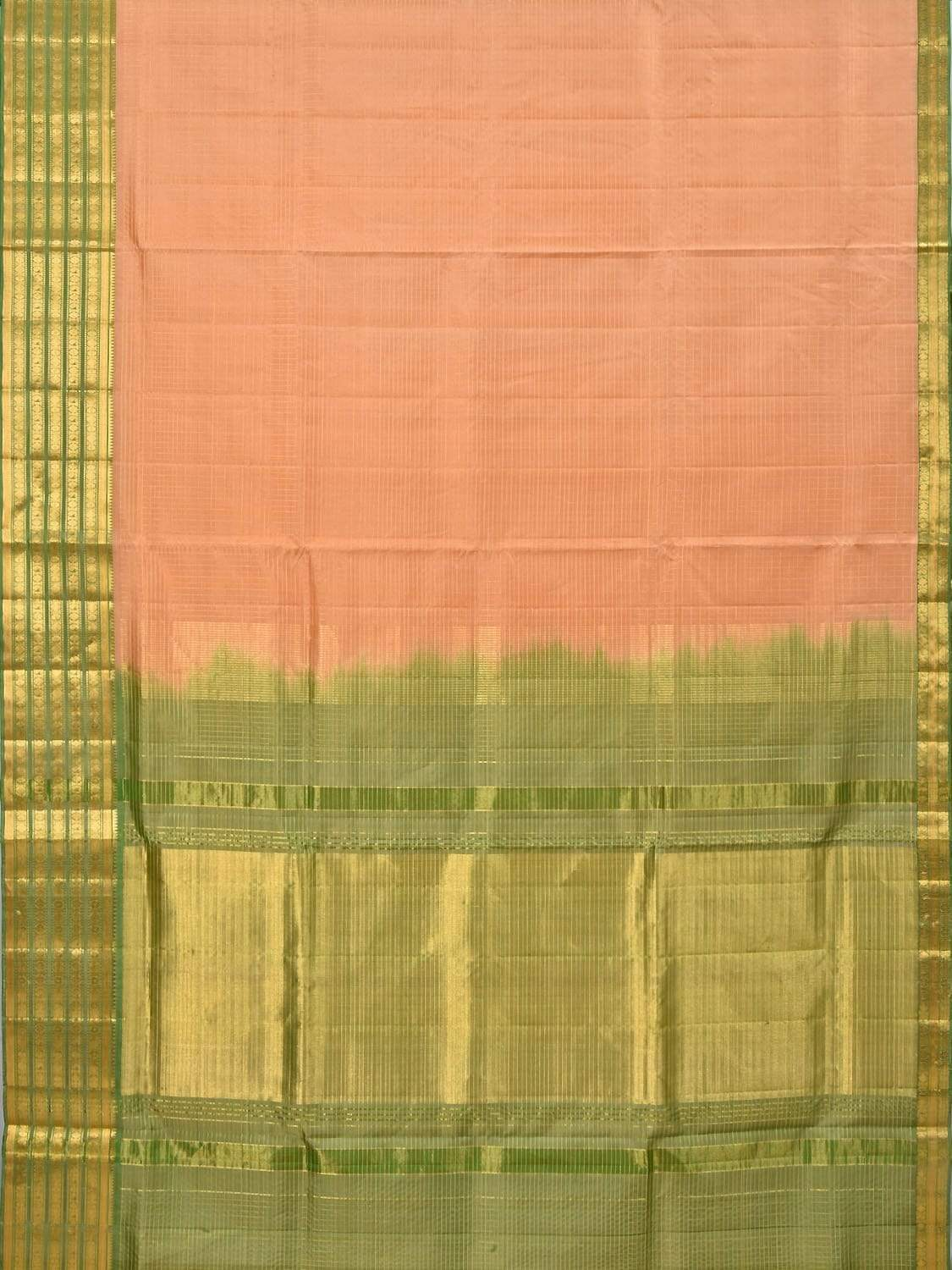 Peach Gadwal Silk Handloom Saree with Checks and Border Design G0236