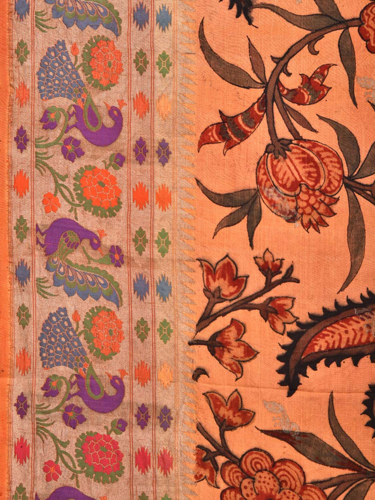 Peach Kalamkari Hand Painted Banaras Paithani Silk Saree with Exotic Flowers Design KL0322
