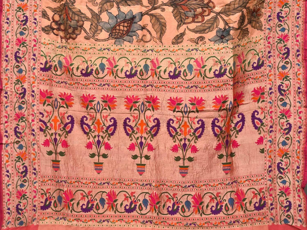 Peach Kalamkari Hand Painted Paithani Silk Handloom Saree with Flowers and Lotus Border Design KL0344
