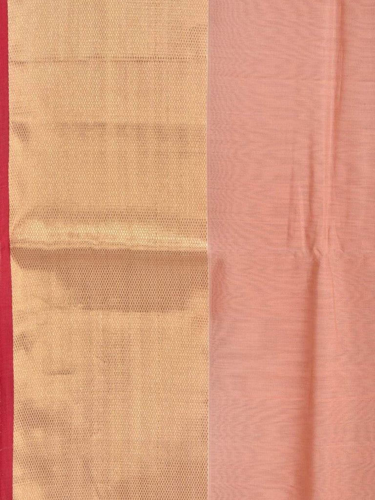 Peach Maheshwari Cotton Silk Handloom Saree with Zari Border M0082