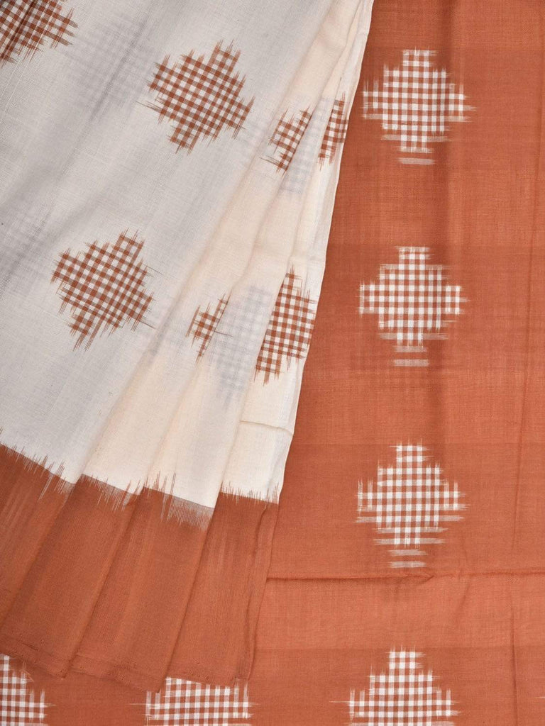 Peach Pochampally Single Ikat Cotton Handloom Saree with Body Buta Design i0576