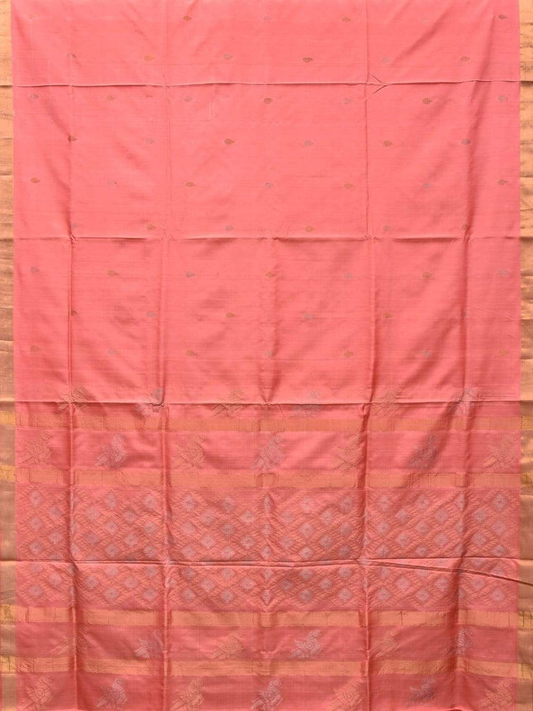 Peach Uppada Silk Handloom Saree with Birds and Jamdani Pallu Design u1716