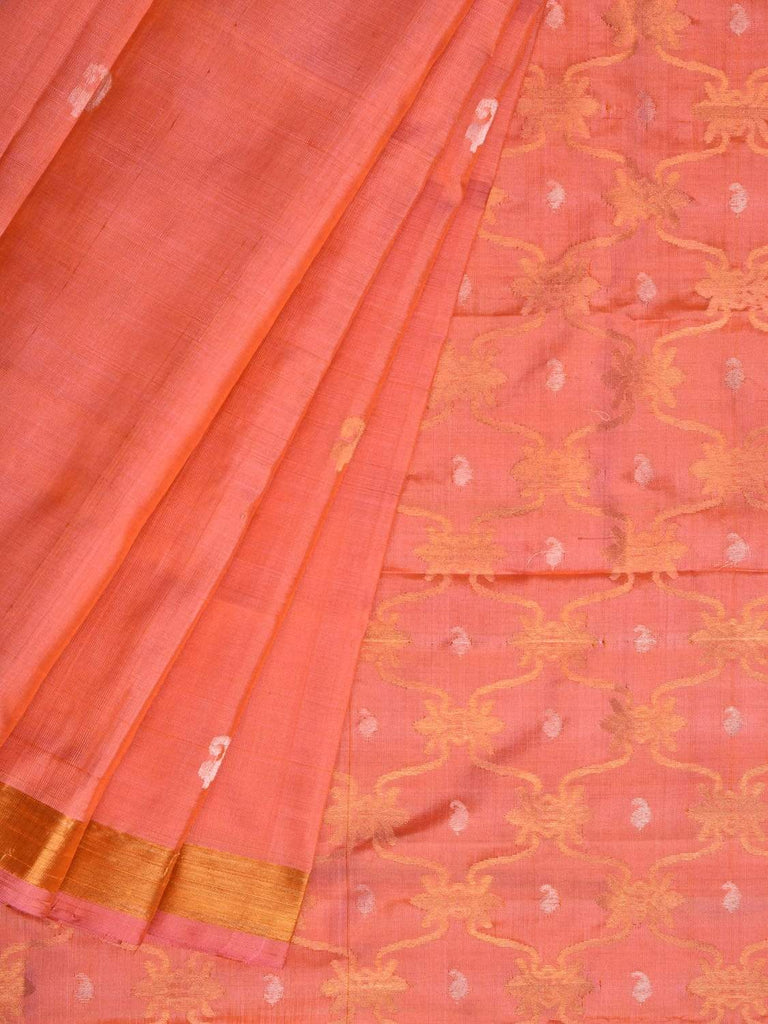 Peach Uppada Silk Handloom Saree with Grill Pallu Design u1704