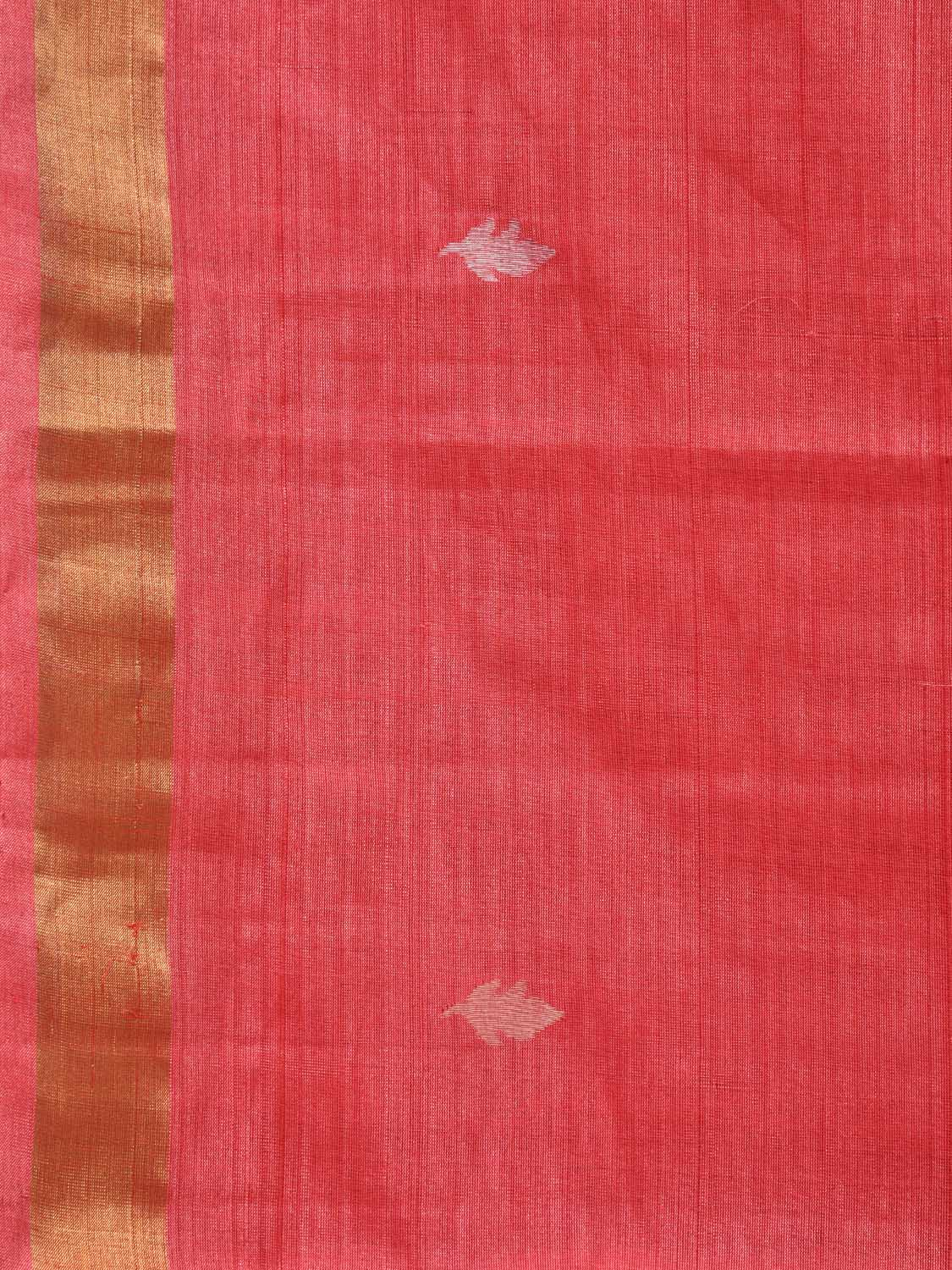 Peach Uppada Tussar Cotton Handloom Saree with Grill Pallu Design u1606
