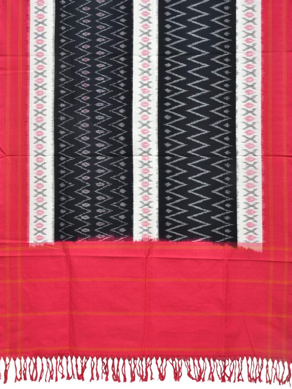 Pink and Black Pochampally Ikat Cotton Handloom Dupatta with Zig-Zag Design ds1837