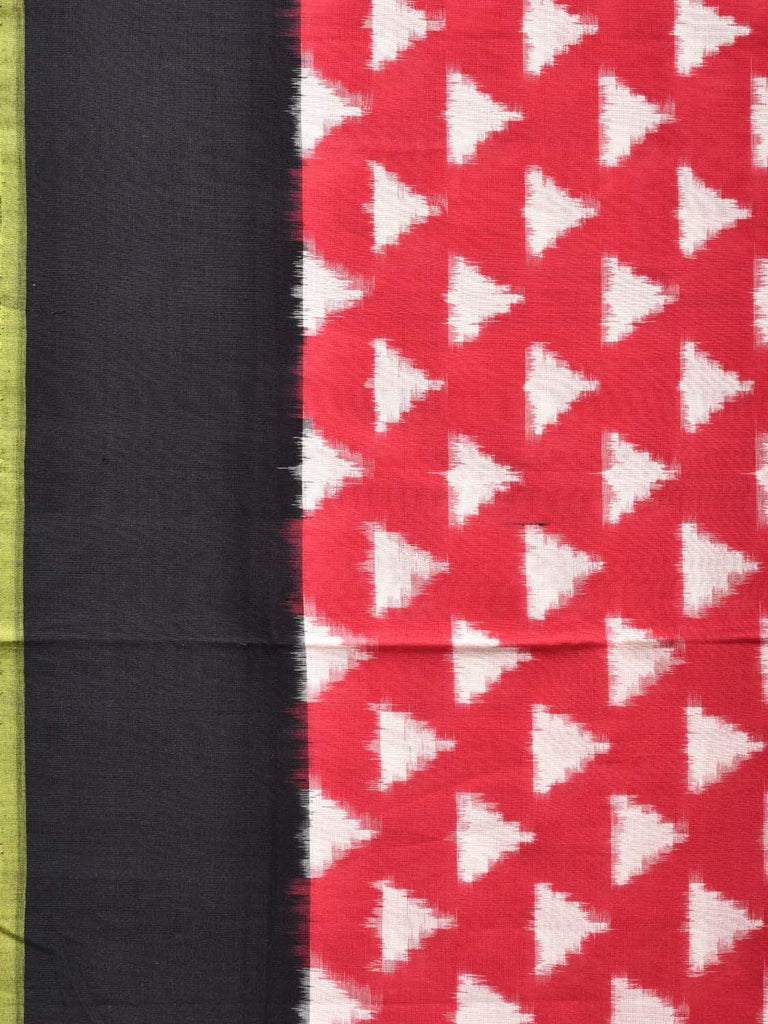 Pink and Black Pochampally Single Ikat Cotton Handloom Saree with Triangle Buta Design i0572