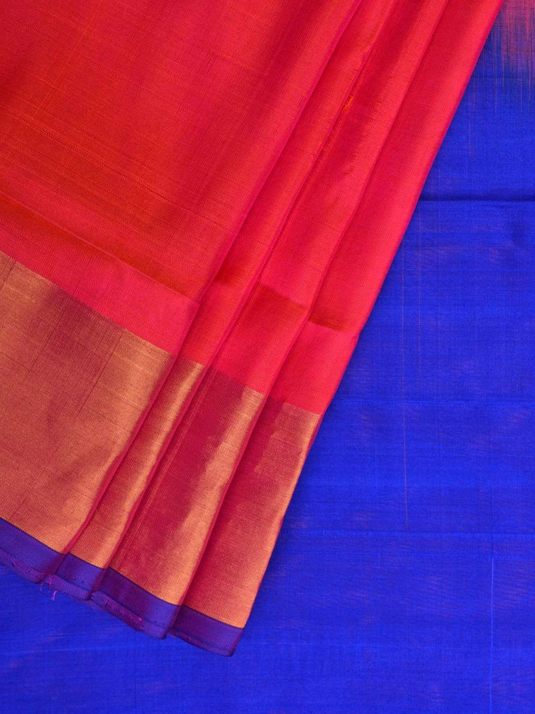 Pink and Blue Uppada Silk Handloom Plain Saree with Contrast Pallu Design u1728