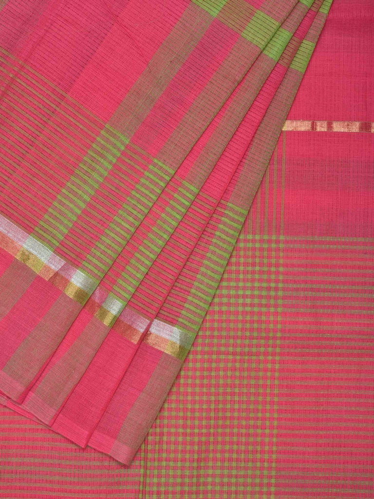 Pink and Green Venkatagiri Cotton Handloom Saree with Checks Design v0072