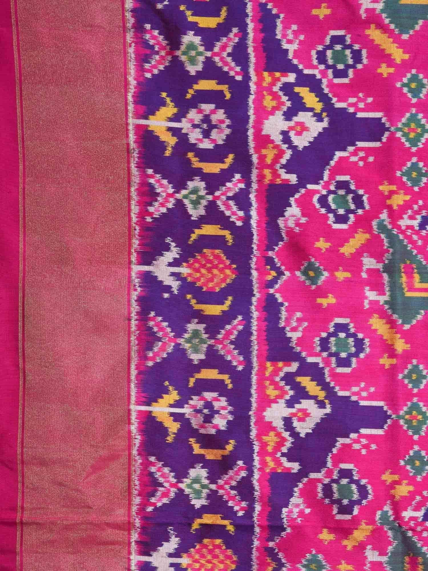 Pink and Purple Pochampally Ikat Silk Handloom Saree with All Over Bird and Elephant Design i0501