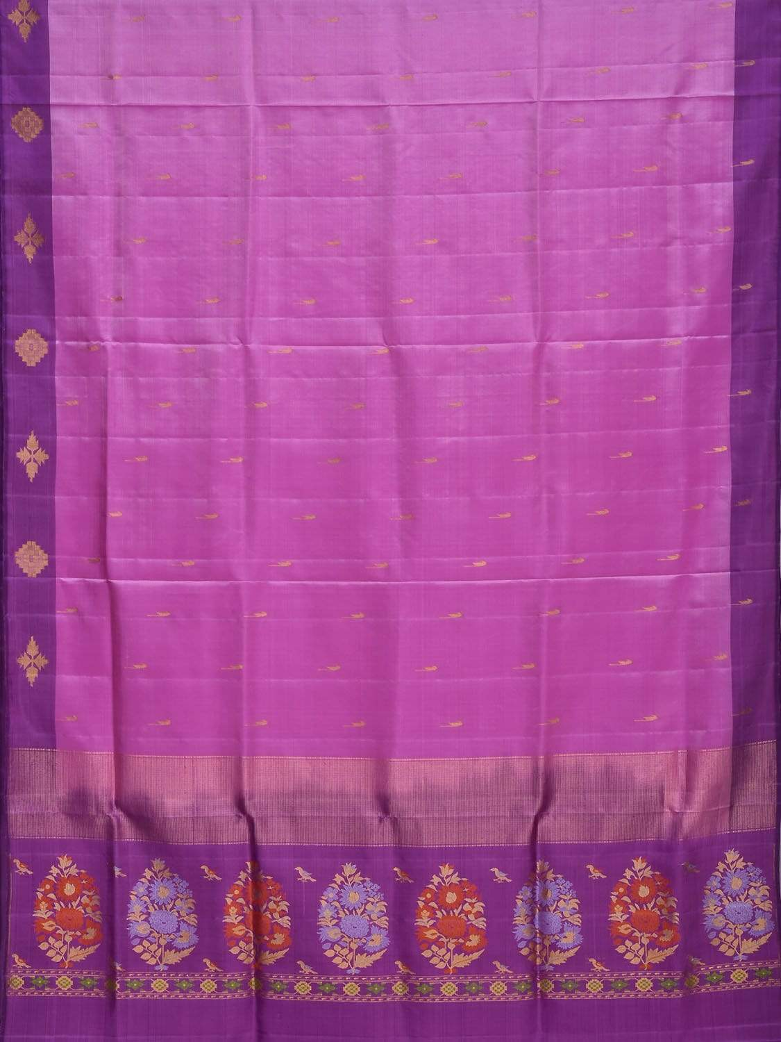 Pink and Purple Silk Handloom Saree with One Side Border and Pallu Design o0267