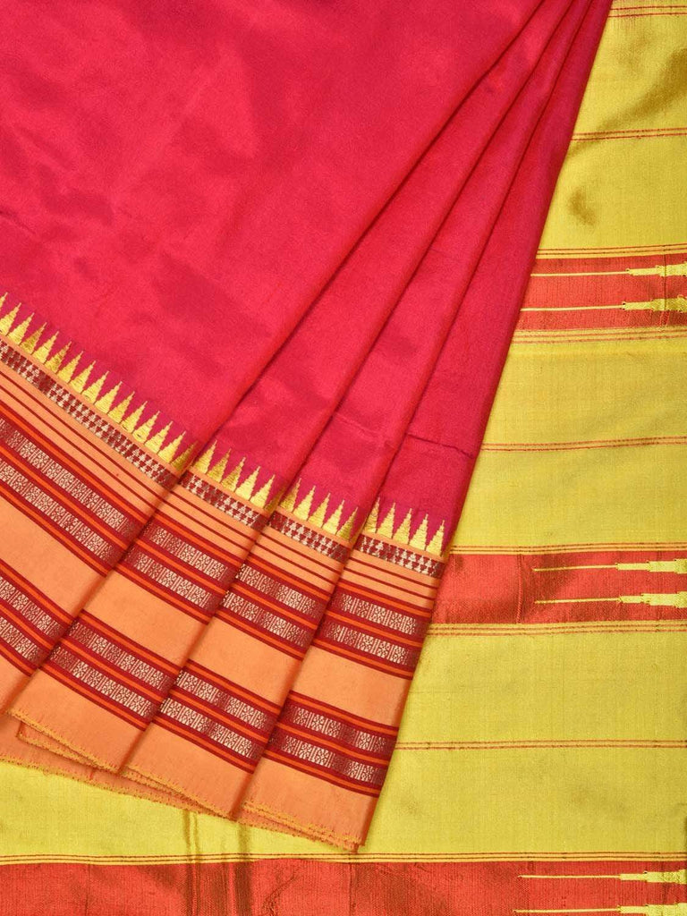 Pink and Yellow Narayanpet Silk Handloom Saree with Checks and Contrast Pallu Design No Blouse np0239