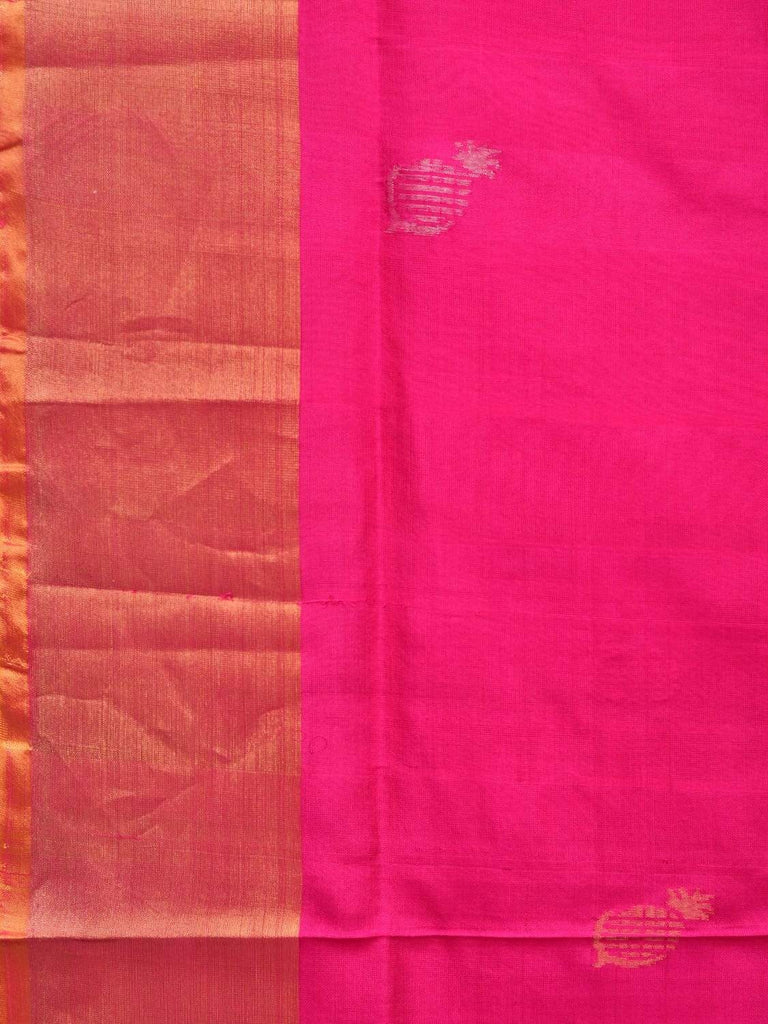 Pink and Yellow Uppada Silk Handloom Saree with Mango Buta and Contrast Pallu Design u1671