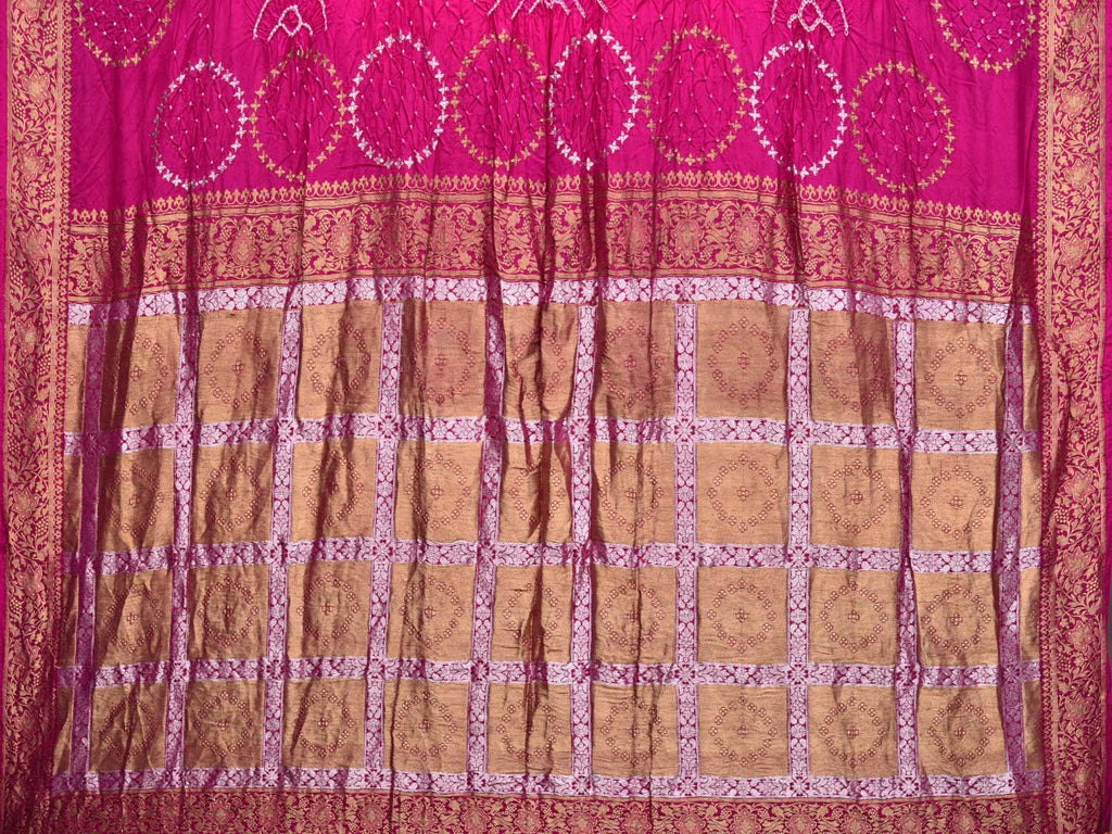 Pink Bandhani Banaras Silk Handloom Saree with Checks Pallu Design bn0062