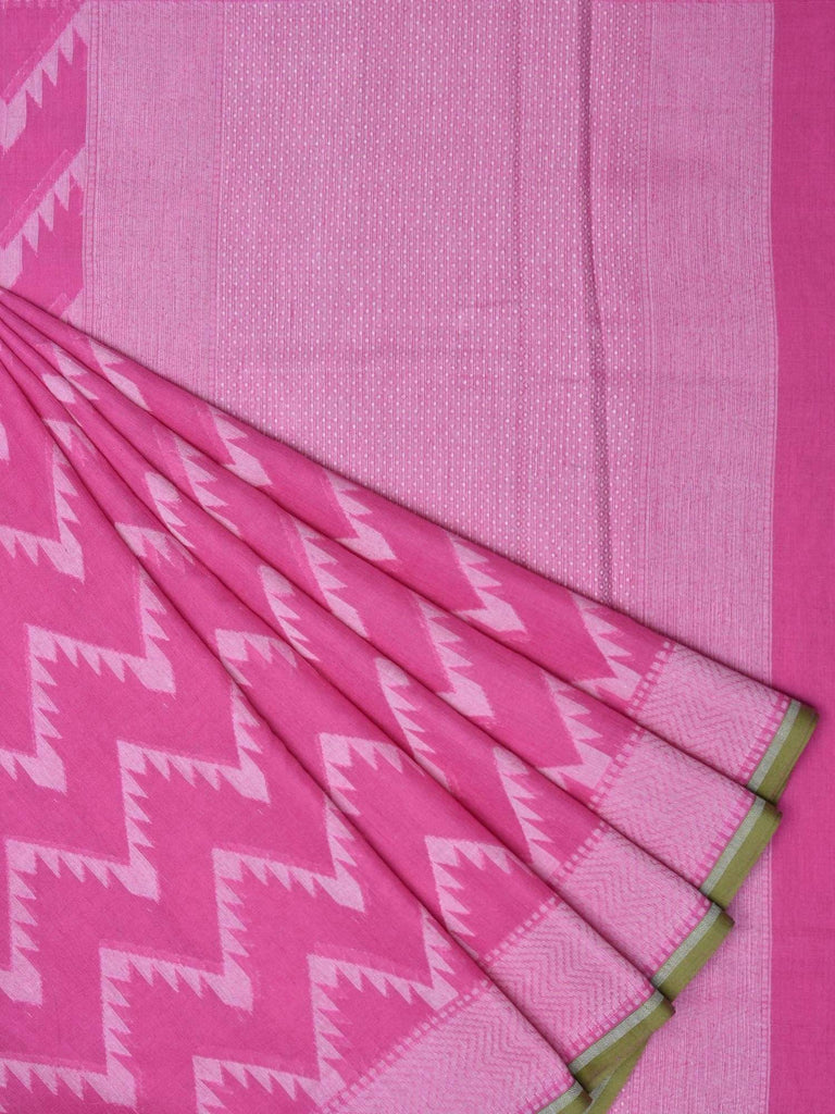 Pink Cotton Cut Work Handloom Saree with Zig-Zag Design o0192