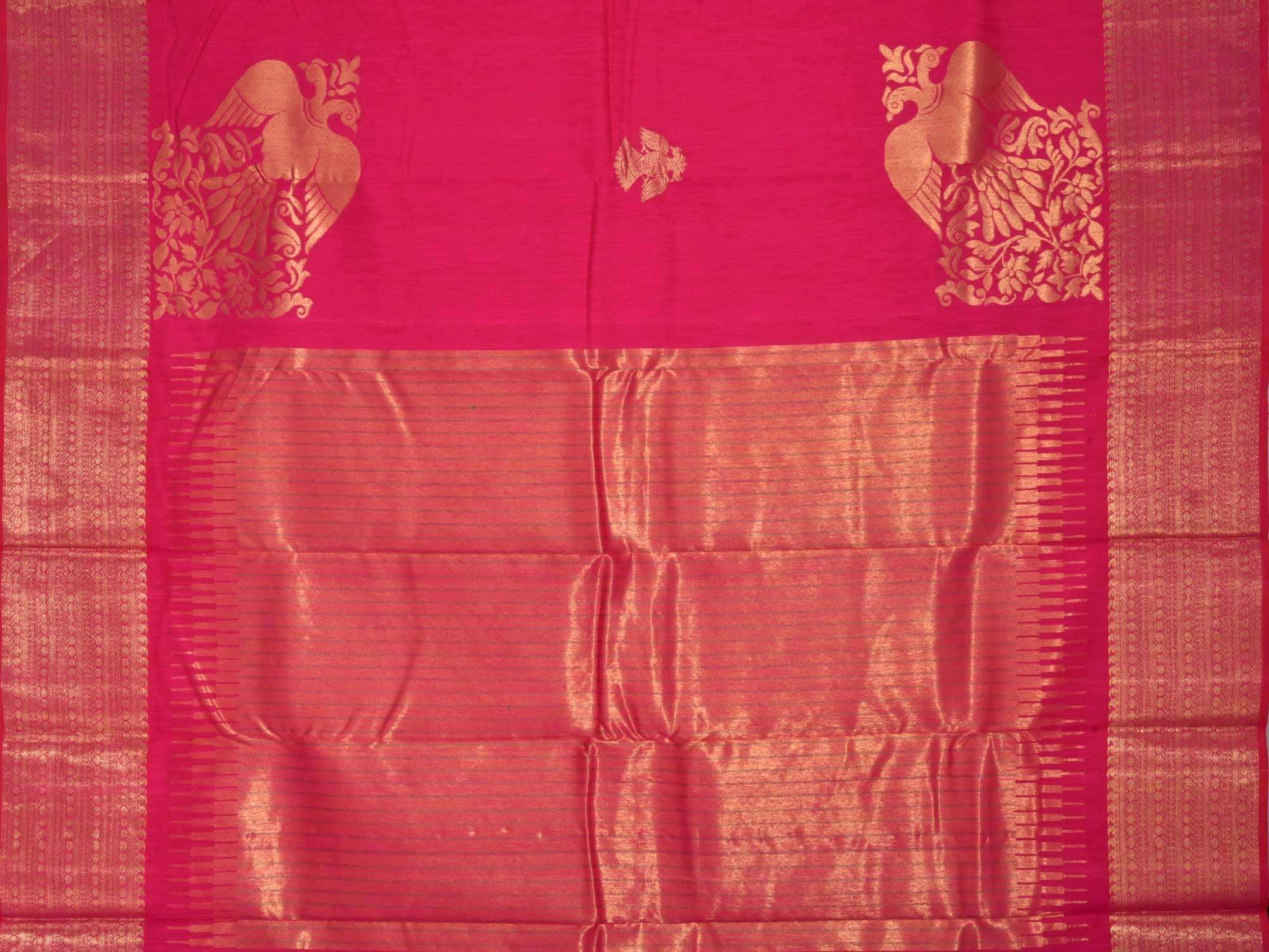 Pink Kanchipuram Linen Handloom Saree with Corner Gandaberunda Design K0247