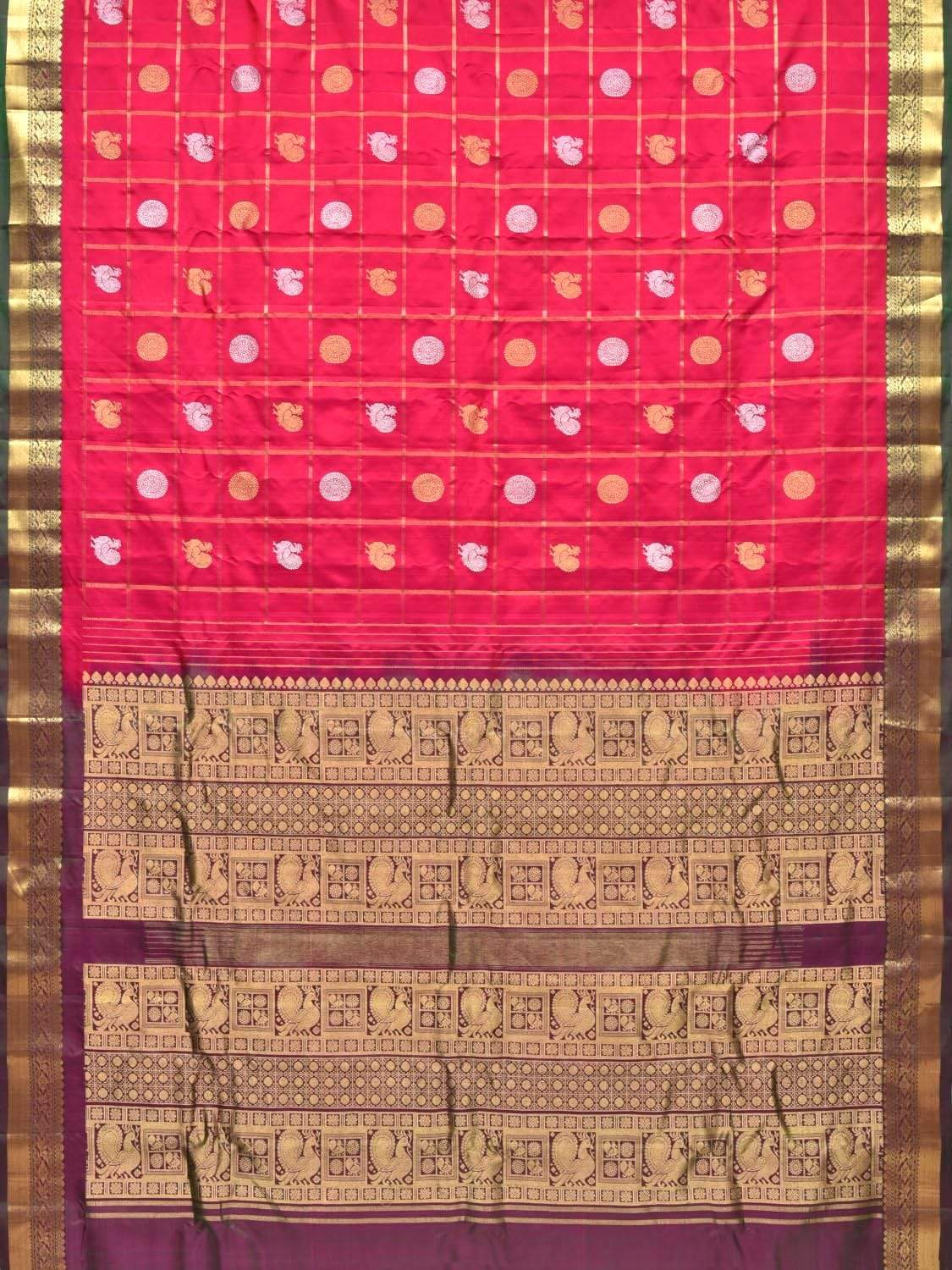 Pink Kanchipuram Silk Handloom Saree with Checks and Buta Design k0492