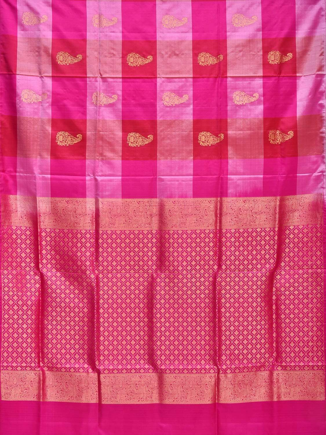 Pink Kanchipuram Silk Handloom Saree with Checks and Mango Buta Design k0469