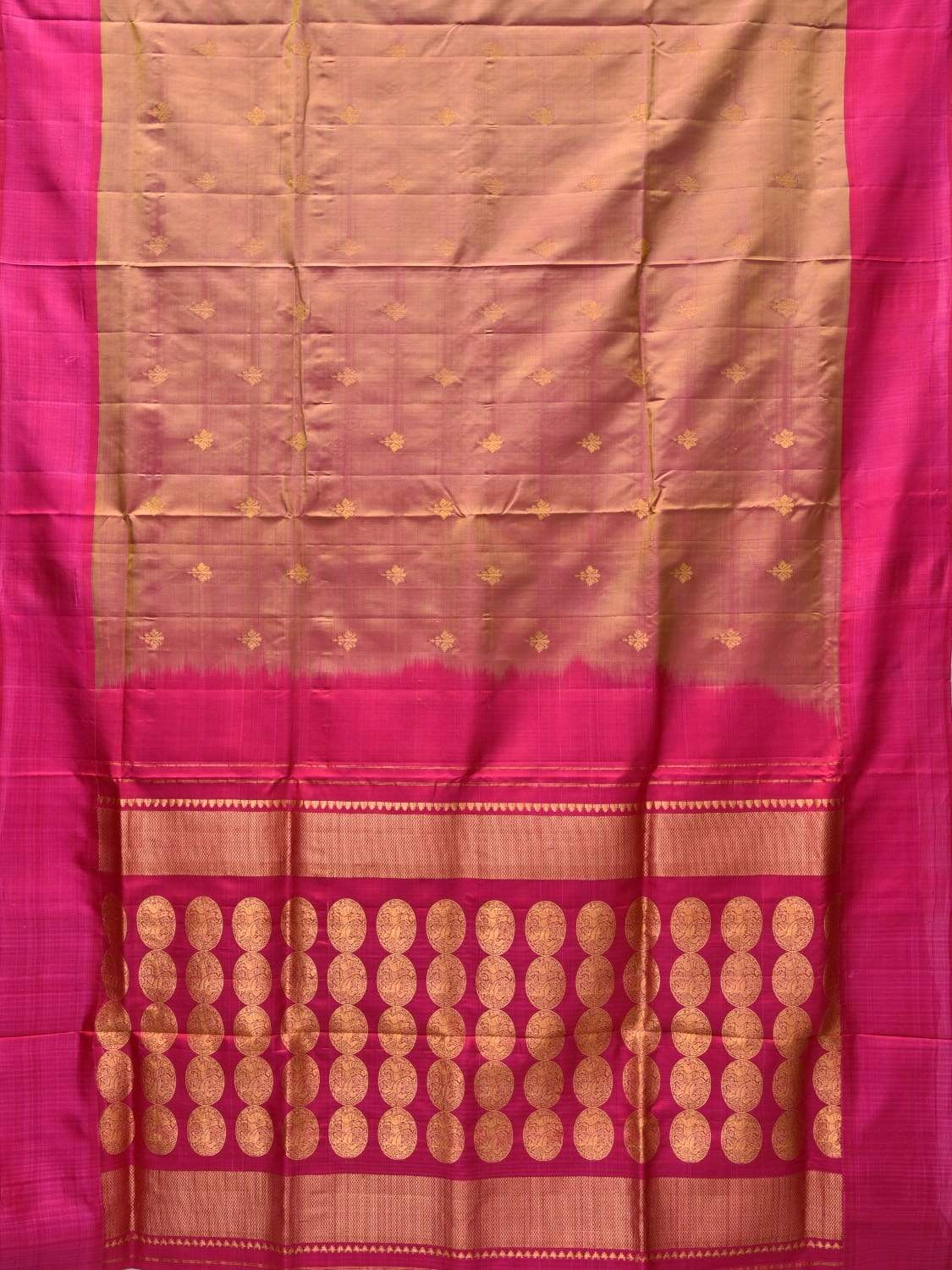 Pink Kanchipuram Silk Handloom Saree with Pallu Design k0491