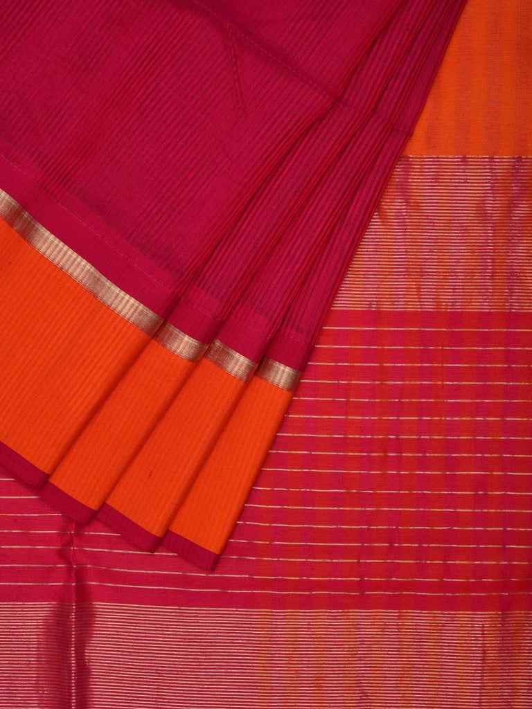 Pink Maheshwari Cotton Silk Saree with Ganga Jamuna Border m0033