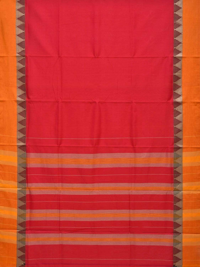 Pink Narayanpet Cotton Handloom Plain Saree with Temple Border Design No Blouse np0228