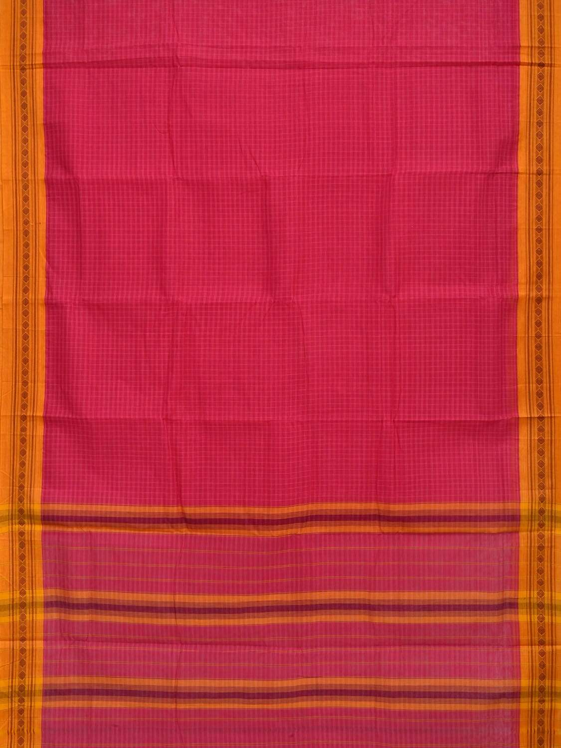 Pink Narayanpet Cotton Handloom Saree with Checks Design No Blouse np0254