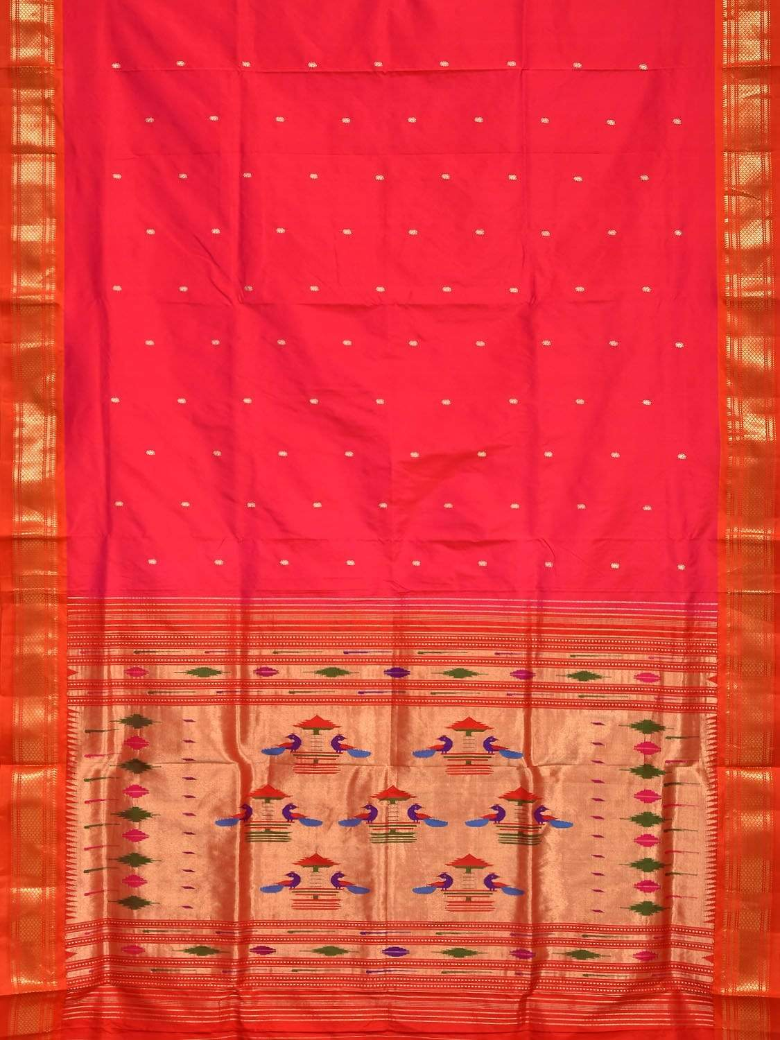 Pink Paithani Silk Handloom Saree with Double Pallu Design p0330