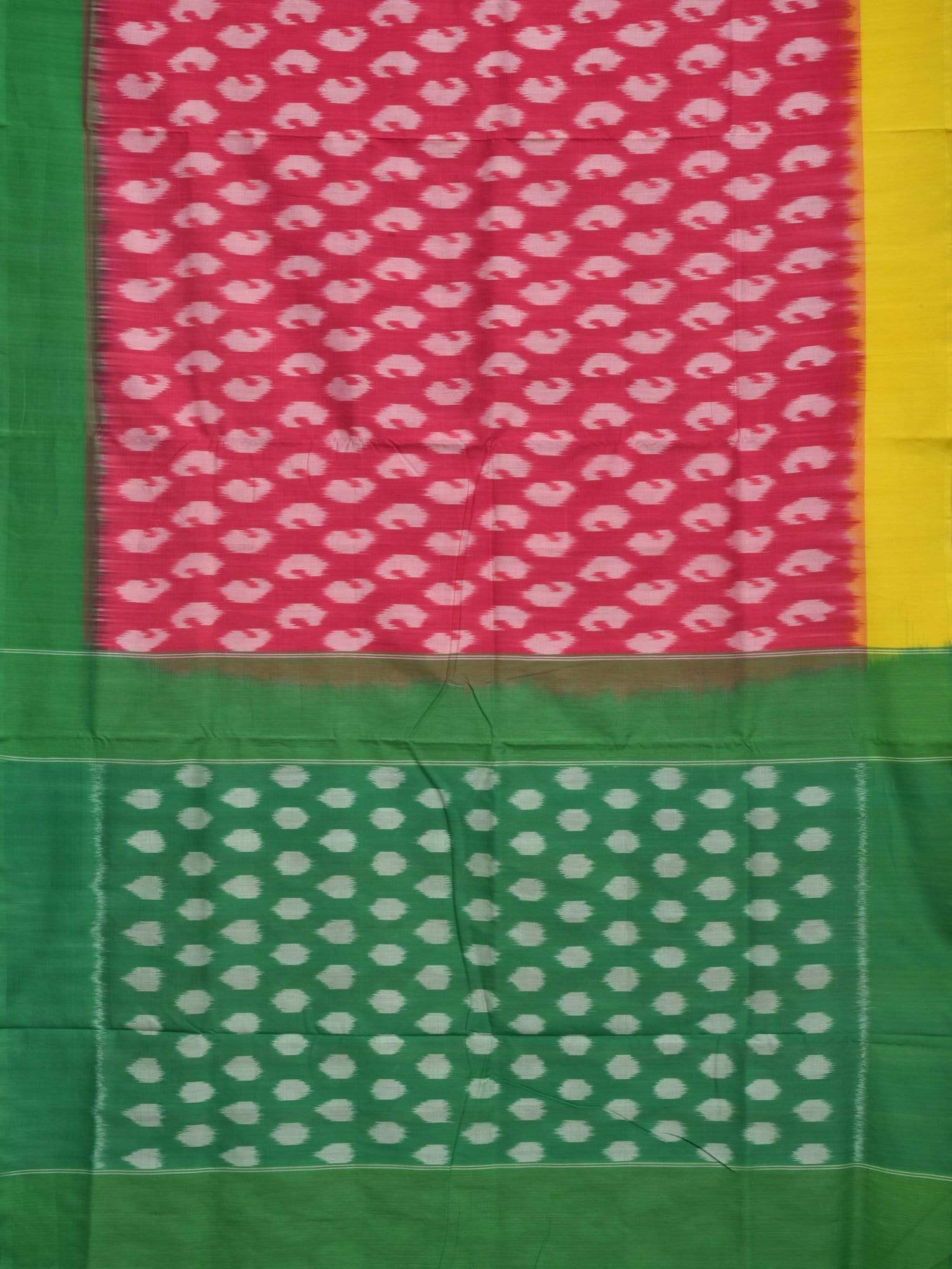 Pink Pochampally Ikat Cotton Handloom Saree with Ganga-Jamuna Border Design i0505