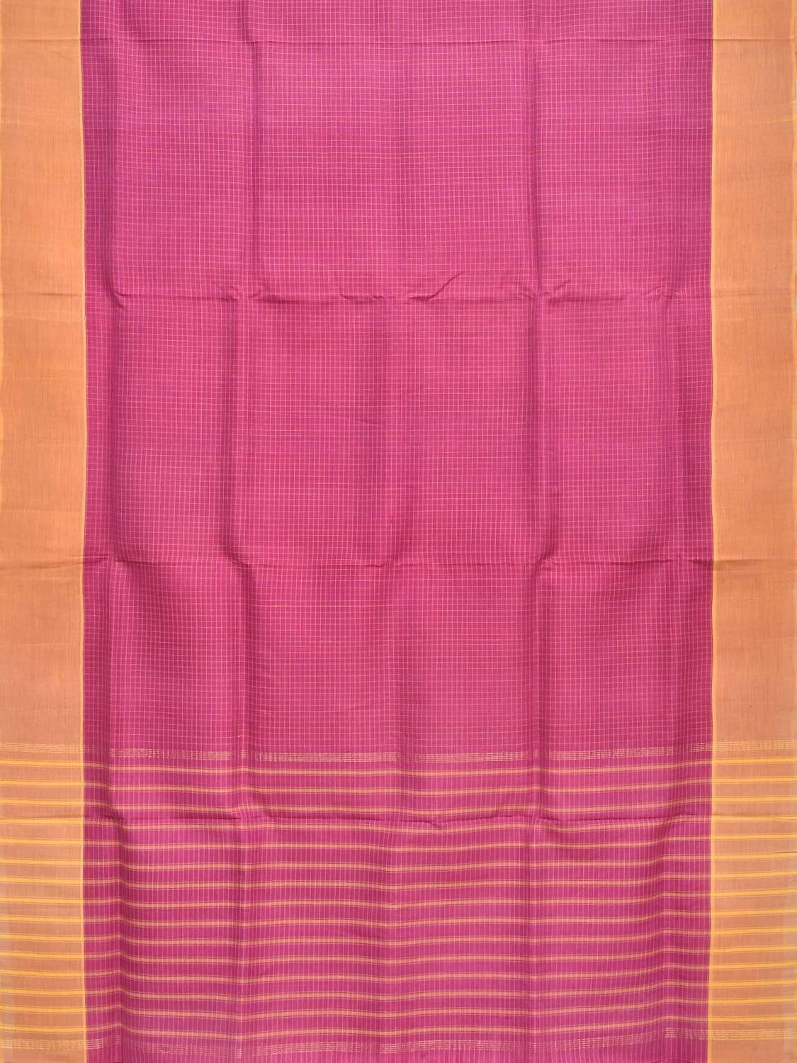 Pink Tussar Cotton Handloom Saree with All Over Checks Design o0273